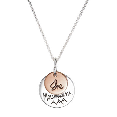 Footnotes She Will Move Mountains Womens Sterling Silver Round Pendant Necklace