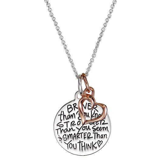 Footnotes Braver Than You Know Stronger Than You Seem Smarter Than You Think Sterling Silver 18 Inch Cable Heart Pendant Necklace
