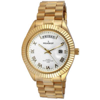 Peugeot Mens Gold Tone Bracelet Watch-1029wt