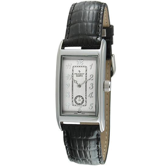 Peugeot Mens Black Leather Strap Watch-2039s