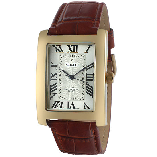 Peugeot Mens Brown Leather Strap Watch-2051gbr