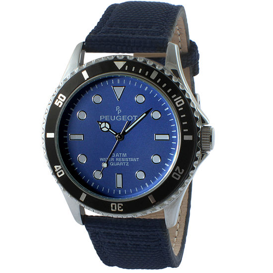 Peugeot Mens Blue Leather Strap Watch-2057bl