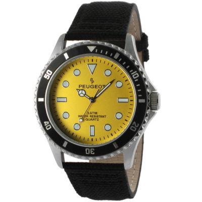 Peugeot Mens Black Strap Watch-2057yl
