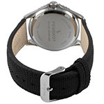 Peugeot Mens Black Leather Strap Watch-2057yl