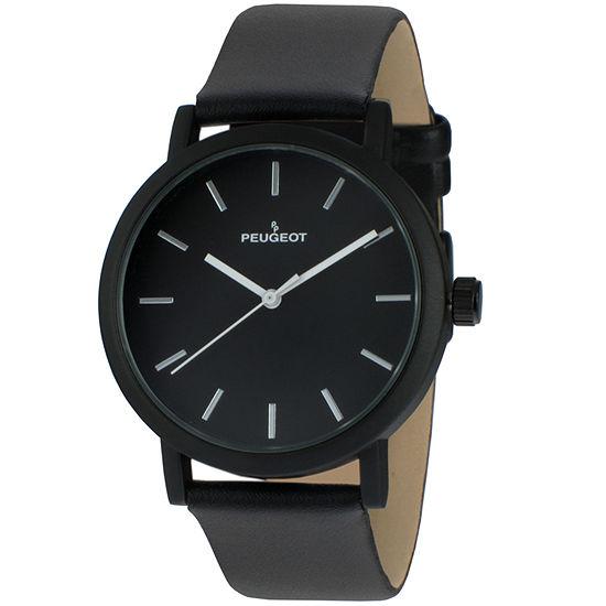 Peugeot Mens Black Strap Watch-2059bk
