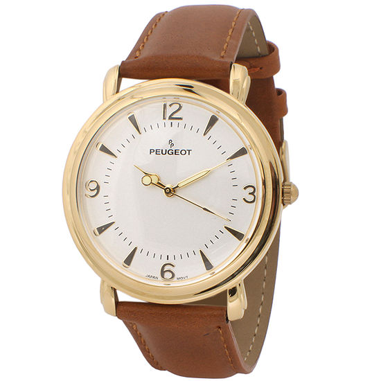 Peugeot Mens Brown Leather Strap Watch-2060g