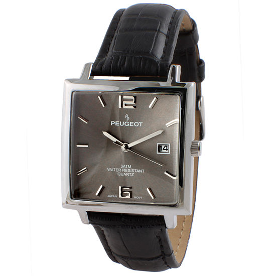 Peugeot Mens Black Leather Strap Watch-2062gy