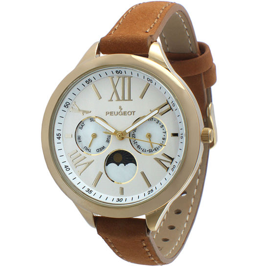 Peugeot Womens Brown Leather Strap Watch-3053