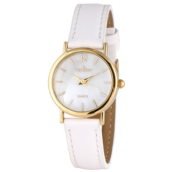 Peugeot Womens White Leather Strap Watch-3055wt