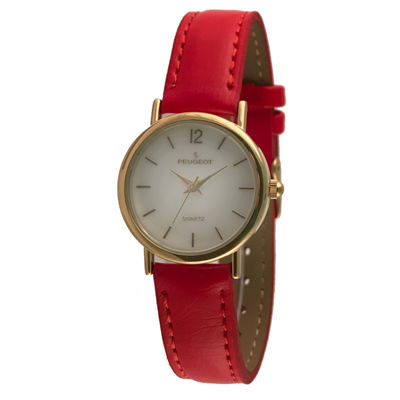 Peugeot Womens Red Strap Watch-3055rd