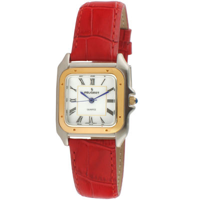Peugeot Womens Red Strap Watch-3060rd