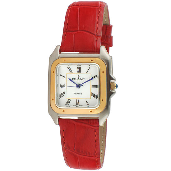 Peugeot Womens Red Leather Strap Watch-3060rd