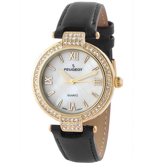 Peugeot Womens Black Leather Strap Watch-3056bk