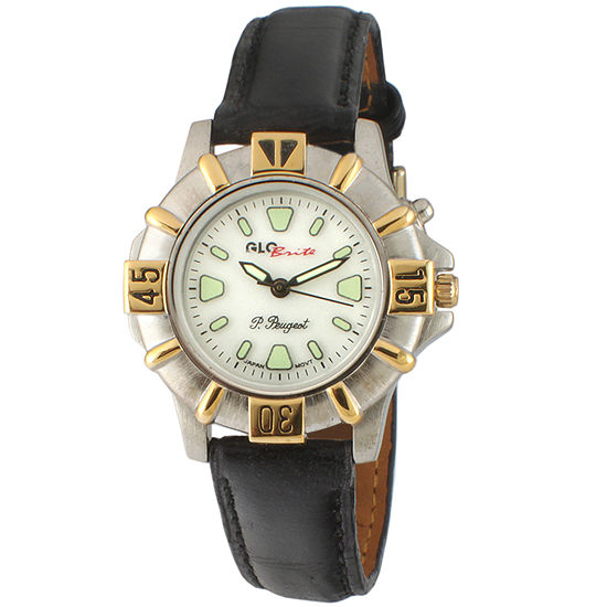 Peugeot Womens Black Leather Strap Watch-544-2