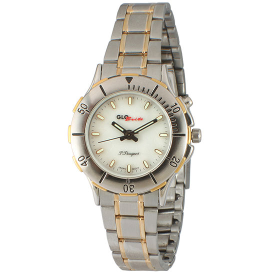 Peugeot Womens Silver Tone Leather Strap Watch-545-3