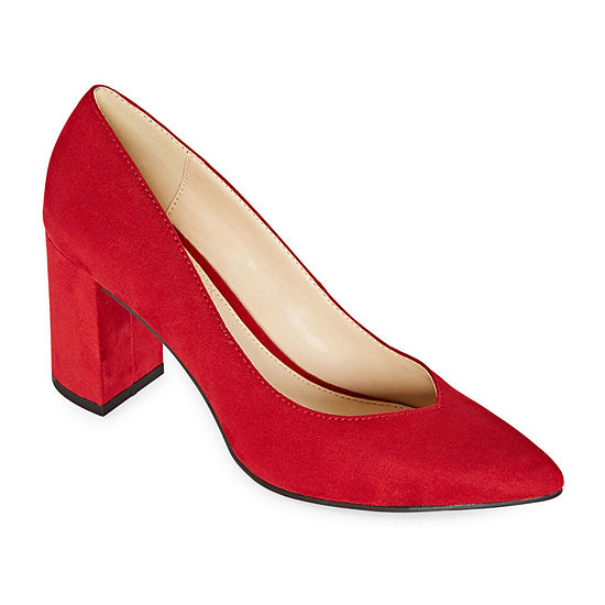 Liz Claiborne Womens Haslett Pointed Toe Block Heel Pumps