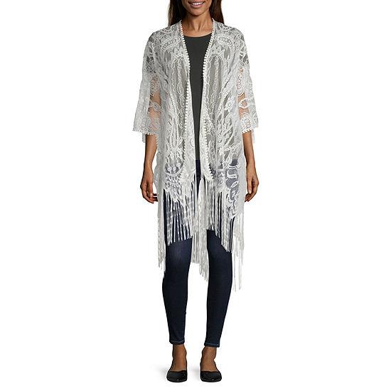 Mixit Lace Womens 3/4 Sleeve Kimono