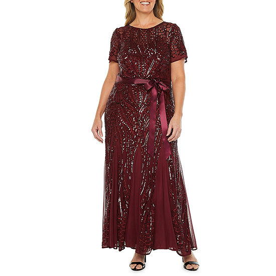 R & M Richards Short Sleeve Sequin Evening Gown-Plus