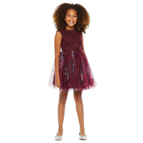 Lilt Girls Short Sleeve Cap Sleeve Party Dress - Big Kid