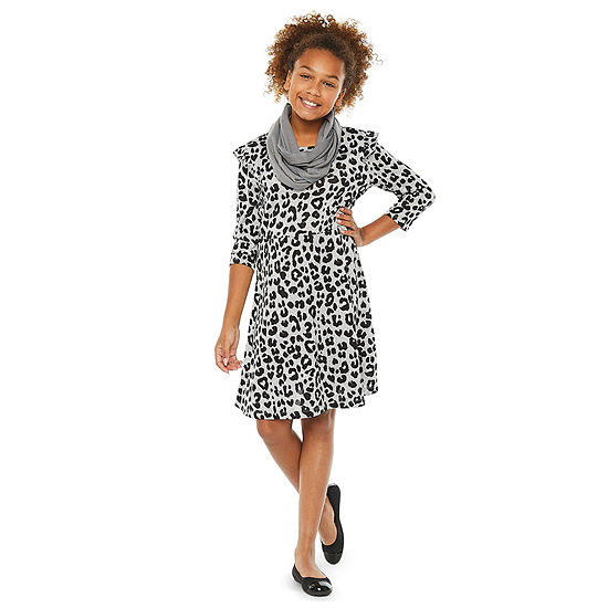 Arizona Little & Big Girls 3/4 Sleeve Fitted Sleeve Dress Set