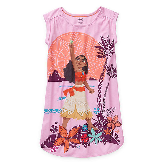 Disney Collection Little & Big Girls Knit Moana Short Sleeve Crew Neck Nightshirt