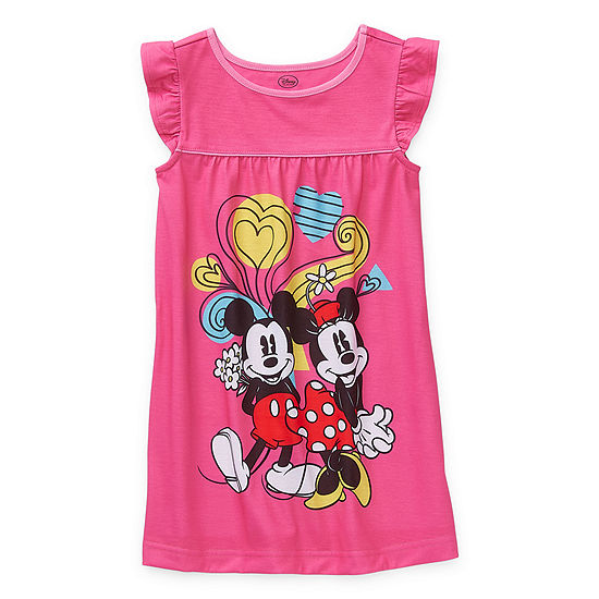 Disney Collection Girls Knit Nightshirt Minnie Mouse Sleeveless Crew Neck