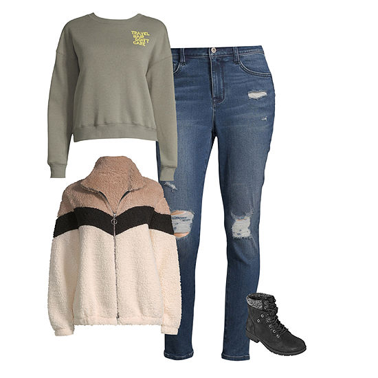 Shop the Look: Arizona Sweatshirt with Jeans and Sherpa