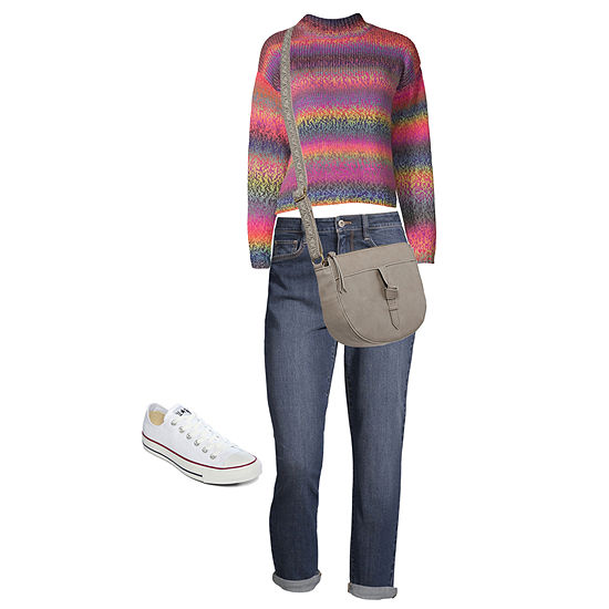 Shop the Look: Arizona Rainbow Sweater with Mom Jeans and Crossbody