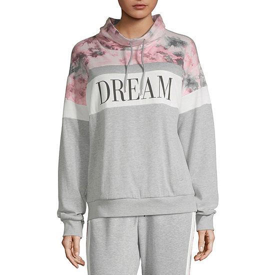 Flirtitude Juniors Womens Cowl Neck Long Sleeve Sweatshirt