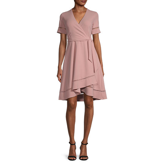 Premier Amour Short Sleeve High-Low Fit & Flare Dress