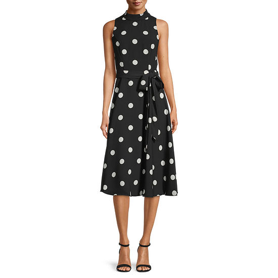 S. L. Fashions Sleeveless Polka Dot Midi Fit & Flare Dress