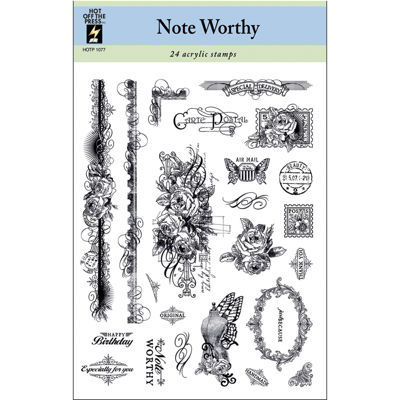 Hot Off The Press 'Note Worthy' Acrylic Stamps Sheet