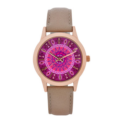 Mixit Womens Brown Strap Watch-Wac5298jc