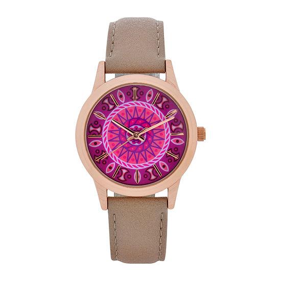 Mixit Womens Brown Strap Watch-Wac5298jc