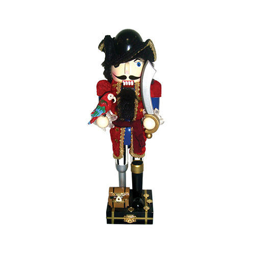"14"" Red Coat Peg Leg Pirate Nutcracker"