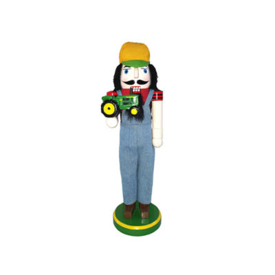 "14"" Farmer with Tractor Nutcracker"