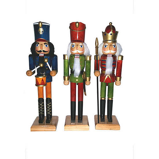 "12"" Natural Wood Nutcracker- Set of 3"""