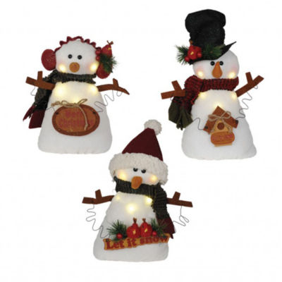 "11"" LED Snowman With Signs- Set of 3 Assorted"