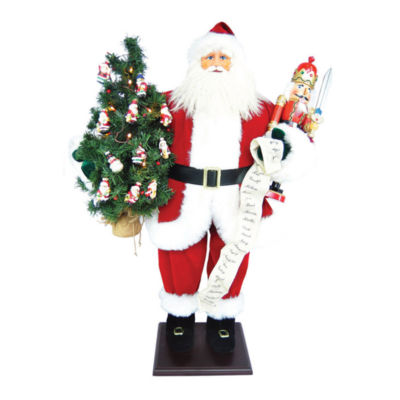 "36"" Traditional Santa With Nutcracker & LED Lights In Tree"
