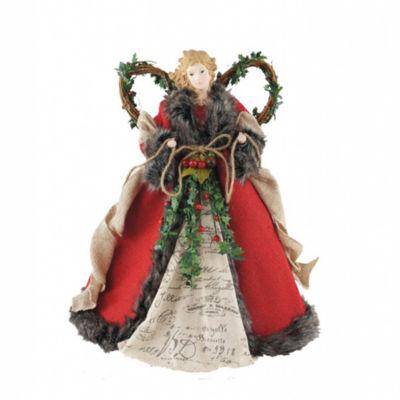 "16"" Red Homespun Angel Tree Topper"