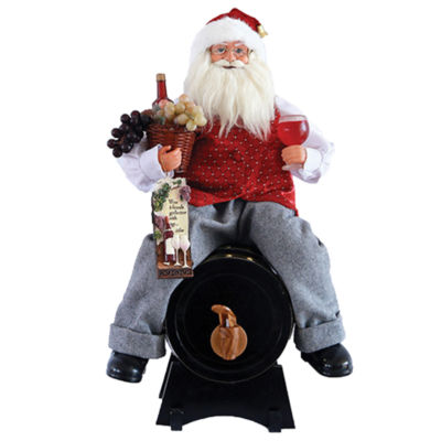 "18"" Santa On Wine Barrel"