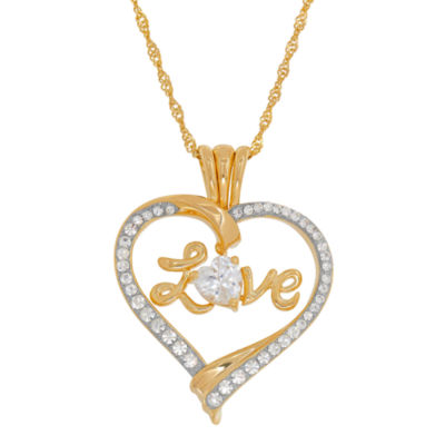 """14K Yellow Gold over Silver Crystal and Cubic Zirconia """"""""Love"""""""" Heart Pendant Necklace"""