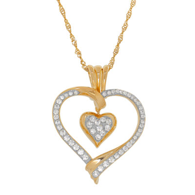"14K Yellow Gold over Silver Crystal and Cubic Zirconia ""Love"" Heart Pendant Necklace"