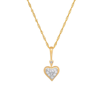 "14K Yellow Gold over Silver Crystal and Cubic Zirconia """"Love"""" Heart Pendant Necklace"