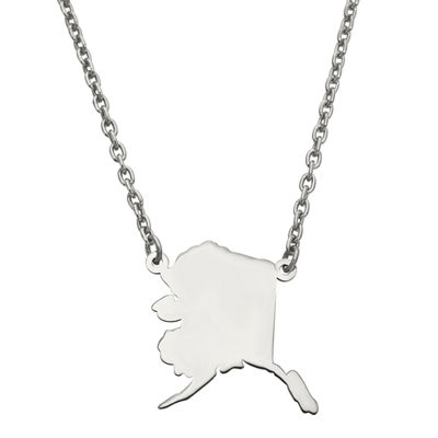 Personalized Sterling Silver Alaska Pendant Necklace