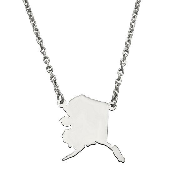 Personalized Sterling Silver Alaska Pendant Necklace