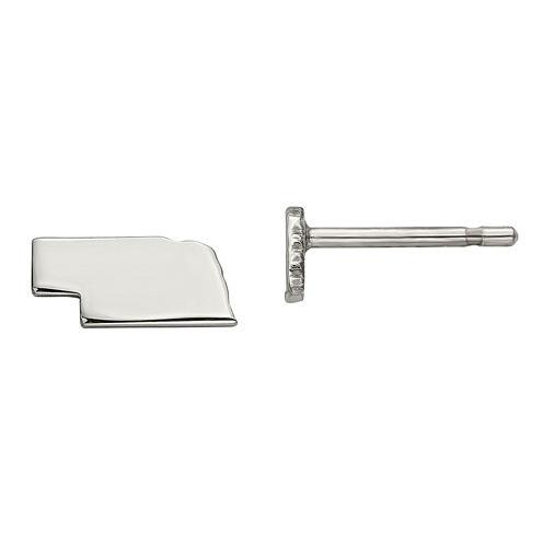 Personalized Sterling Silver Nebraska Stud Earrings