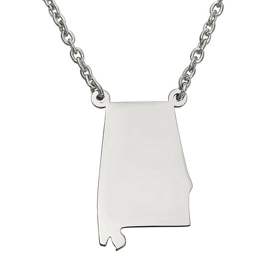 Personalized Sterling Silver Alabama Pendant Necklace