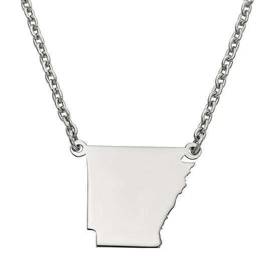 Personalized Sterling Silver Arkansas Pendant Necklace