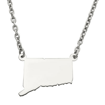 Personalized Sterling Silver Connecticut Pendant Necklace